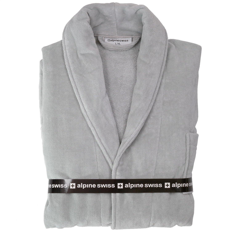 alpine swiss Aiden Mens Cotton Terry Cloth Bathrobe Shawl Collar Velour Spa  Robe By Alpine Swiss 68771a6b5