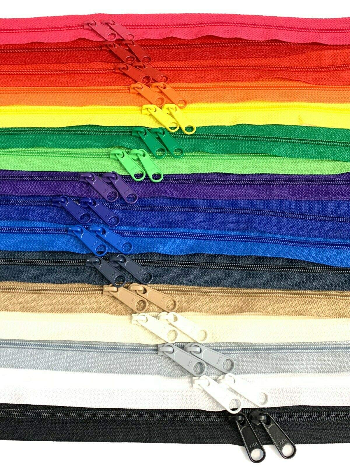 18 Pieces 30 Inches Double Slide Zipper YKK #4.5 Coil with Two Long Pull Head to Head Closed Ended on Both Sides 18 Assorted Colors - Made in USA by YKK