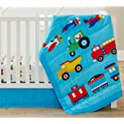 Wildkin 3 Piece Crib Bed-In-A-Bag, 100% Microfiber Crib Bedding Set, Includes Comforter, Fitted Sheet, and Crib Skirt, Coordinates with Other Room Décor, Olive Kids Design – Trains, Planes, & Trucks