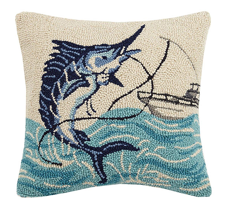 """Peking Handicraft Marlin and Boat Hook Pillow, 16X16"""" Throw"""