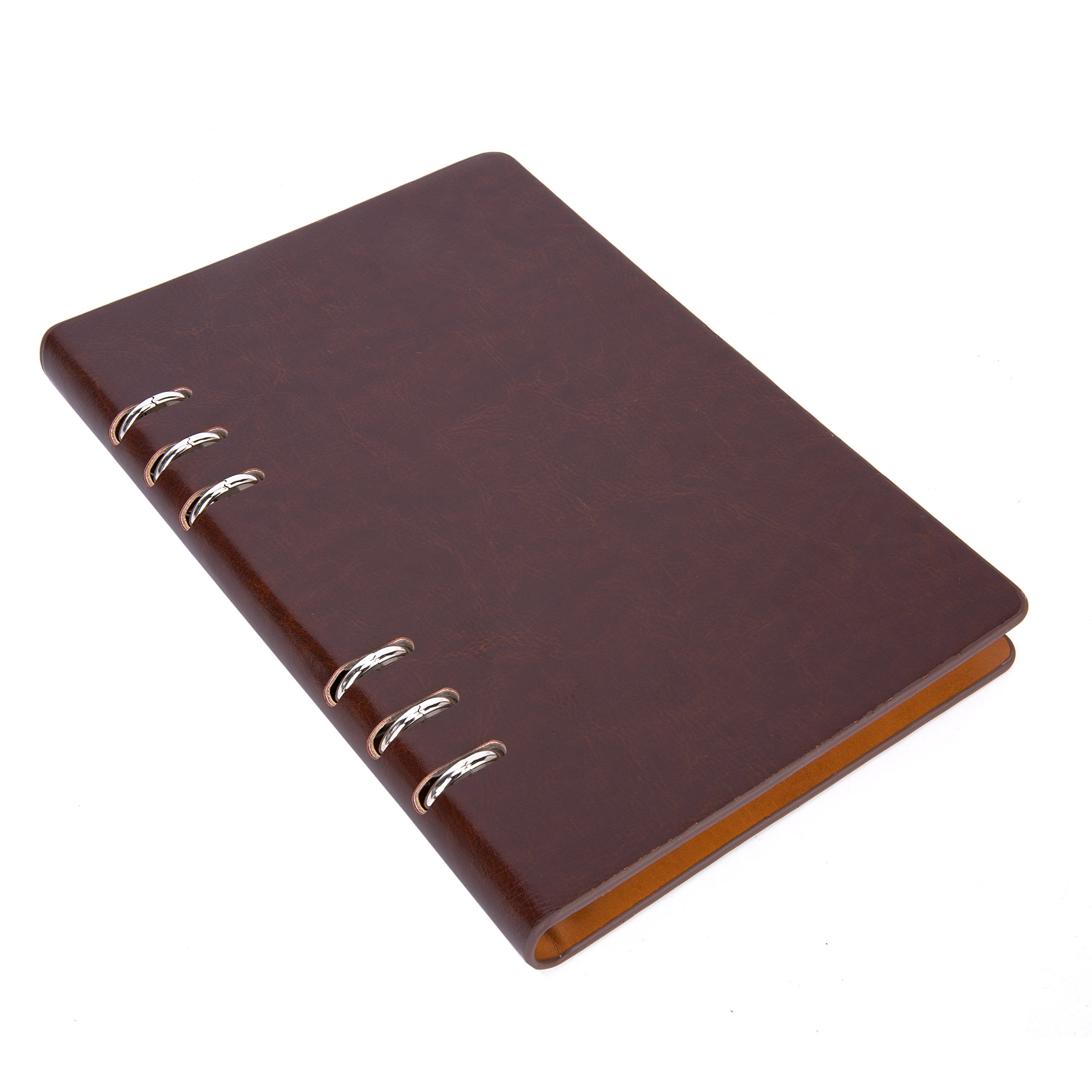 Spiral Bound Notebook A5, UBaymax Premium PU Leather Hardcover Personal Executive Journal Planner Lined Paper for Office School Dark Brown