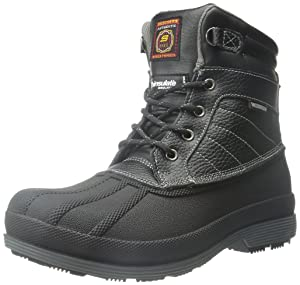 Skechers for Work Women's Duck Rain Boot, Black, 9 M US