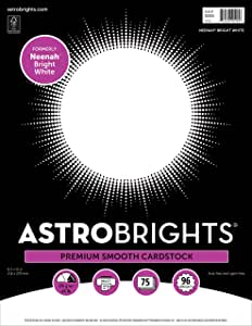 """Astrobrights/Neenah Bright White Cardstock, 8.5"""" x 11"""", 65 lb/176 gsm, White, 75 Sheets (90905-02) - Packaging May Vary"""