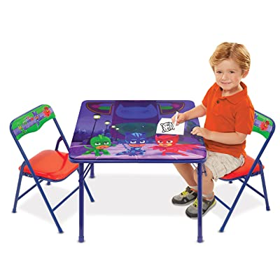 Disney PJ Masks Superhero Team Activity Table Set with 2 Chairs Play Set with Two Chairs: Toys & Games