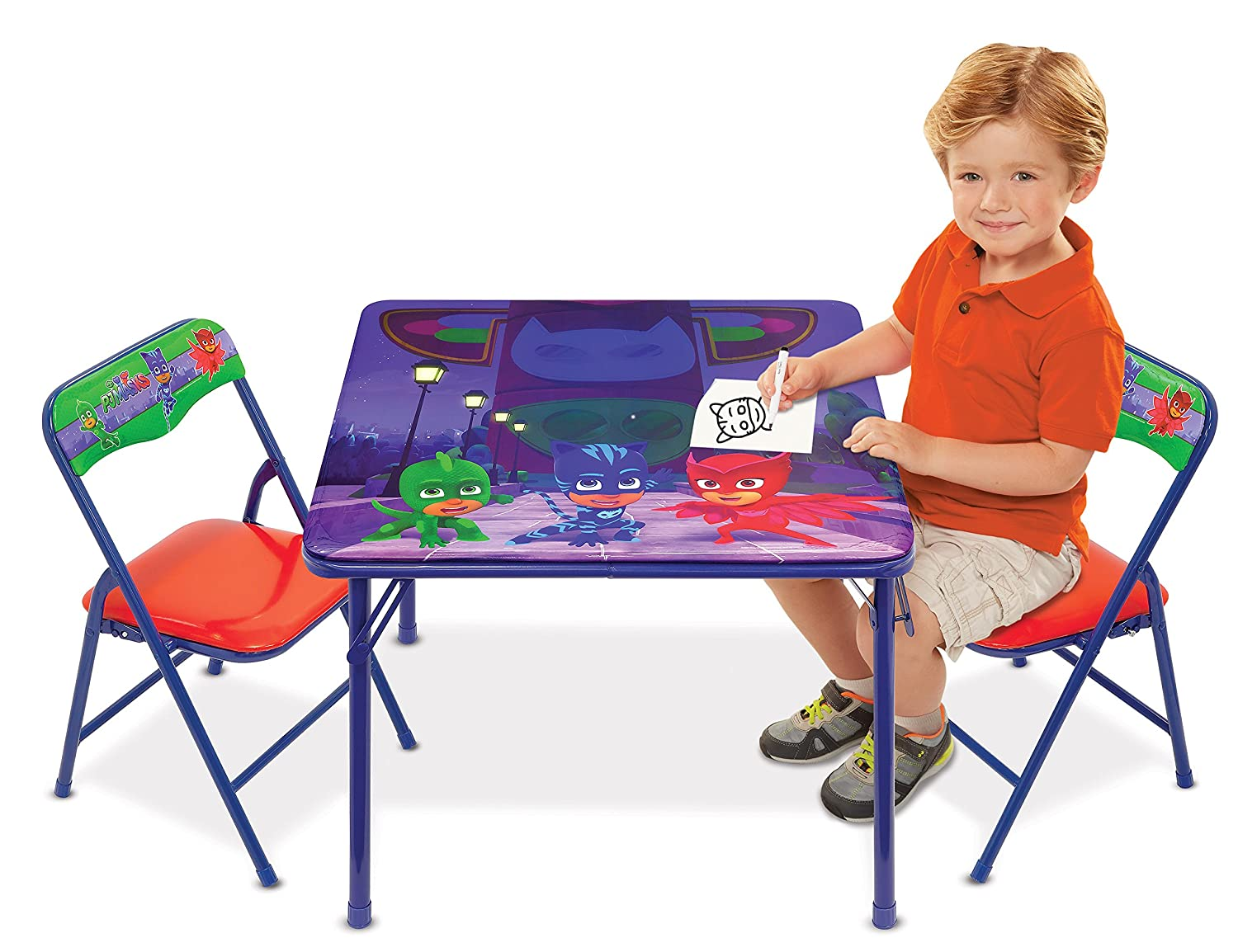 PJ Masks Superhero Team Activity Table Set with 2 Chairs Play Set with Two Chairs Moose Mountain - Domestic 56917