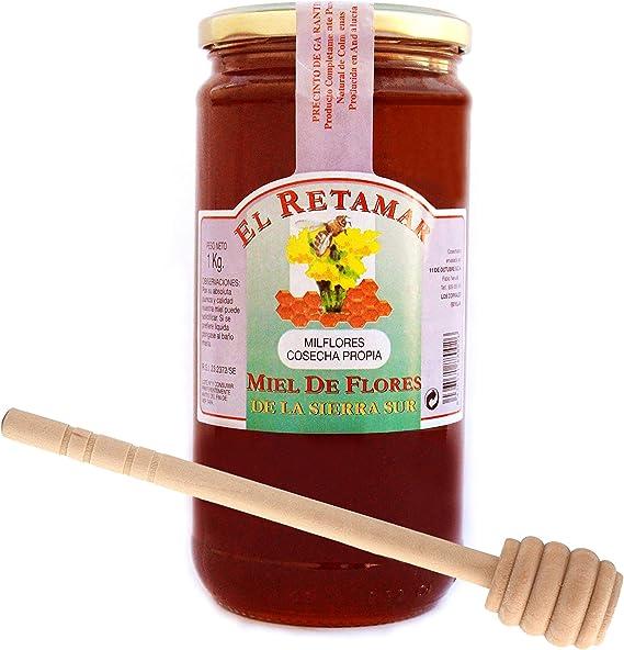 Miel de Abeja 100% Natural Hecha en España + Dispensador de Madera de Regalo. Tarro de 1kg de Miel de Mil Flores. Producción Artesanal sin Aditivos. Comercio de Cercanía: Amazon.es: Alimentación y