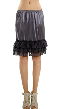 a26c123bafbe [Shop Lev] Women's Satin Half Slip Skirt Extender with three tiered Ruffle  Hem