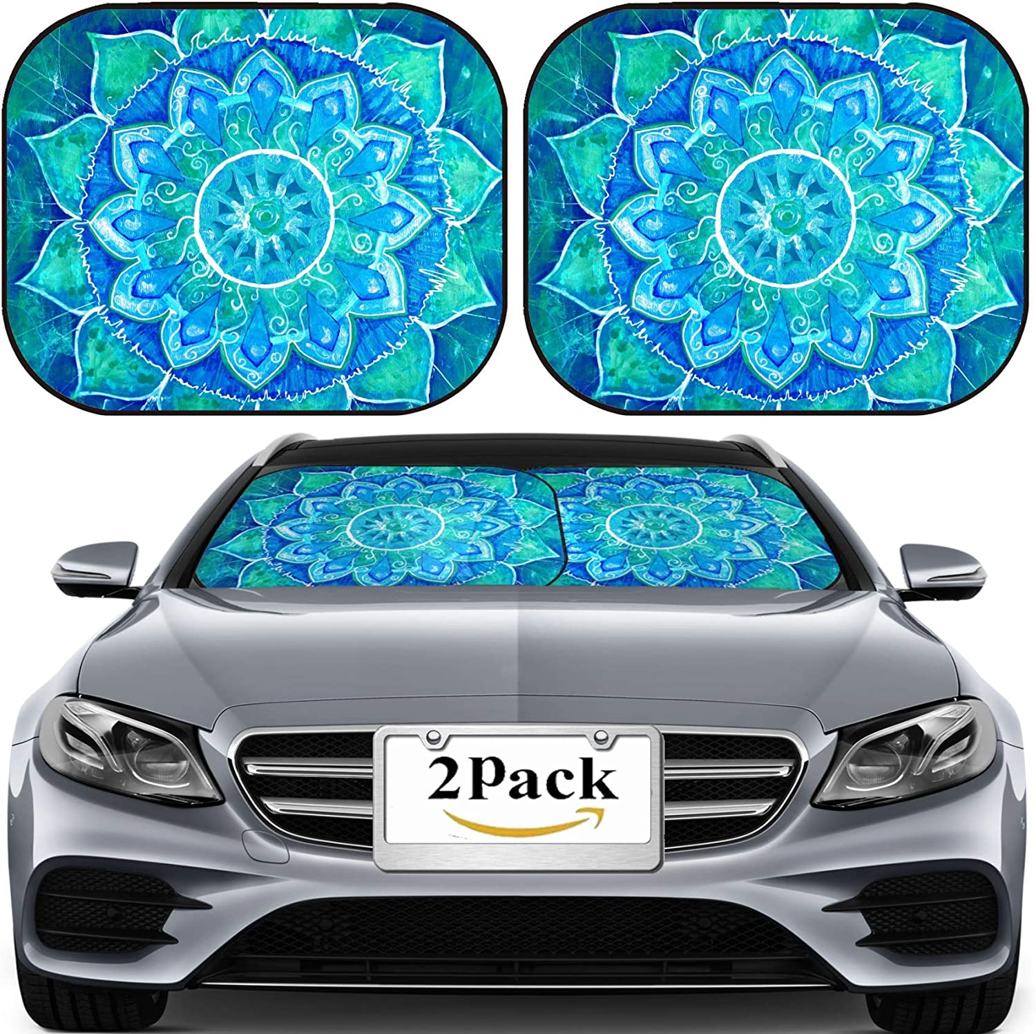 MSD Car Sun Shade Windshield Universal Fit 2 Pack (MUAHABbccA_Abstract Blue PAINTE_986)