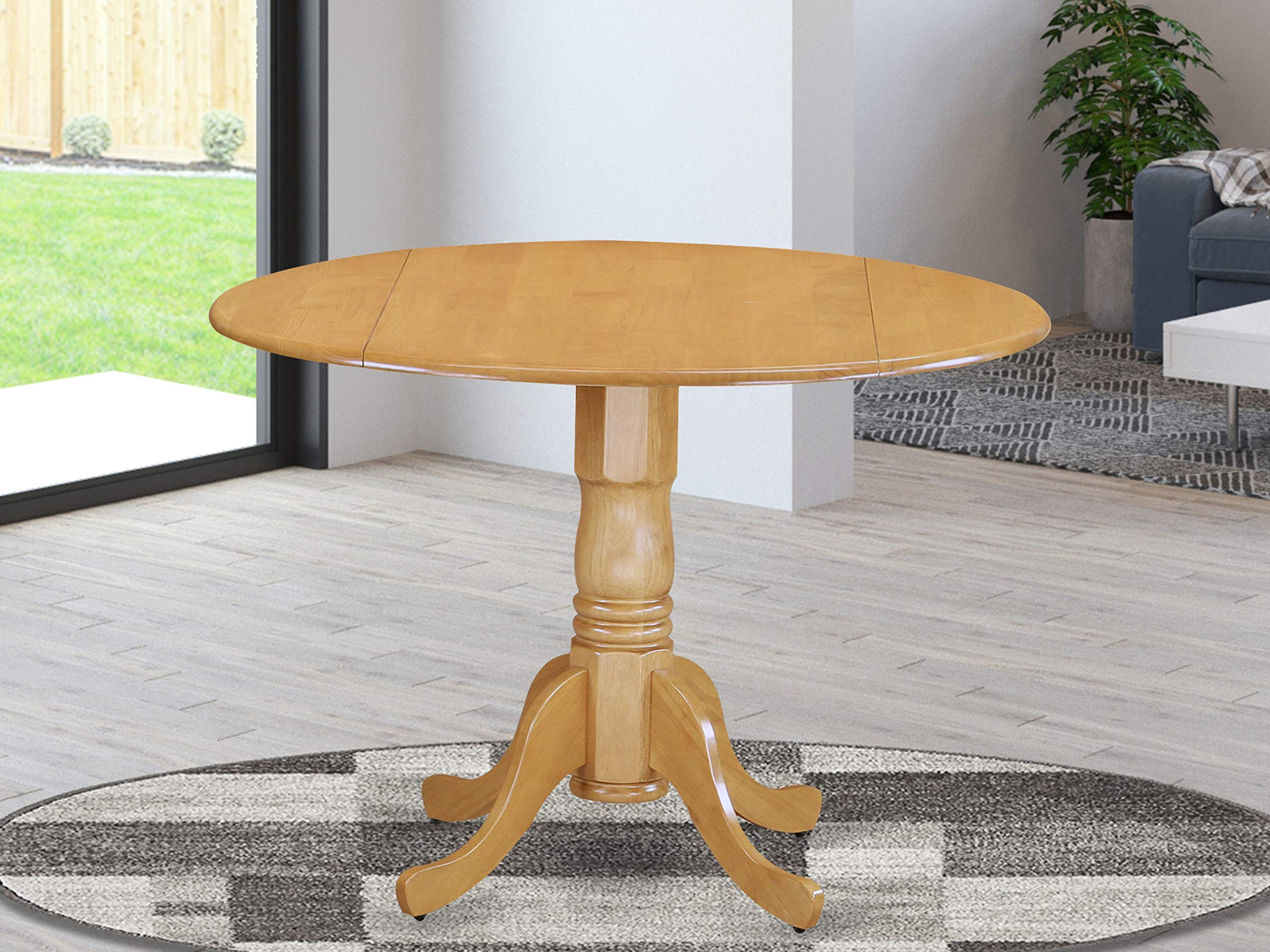 East West Furniture DLT-OAK-TP Round Table with Two 9-Inch Drop Leaves by East West Furniture