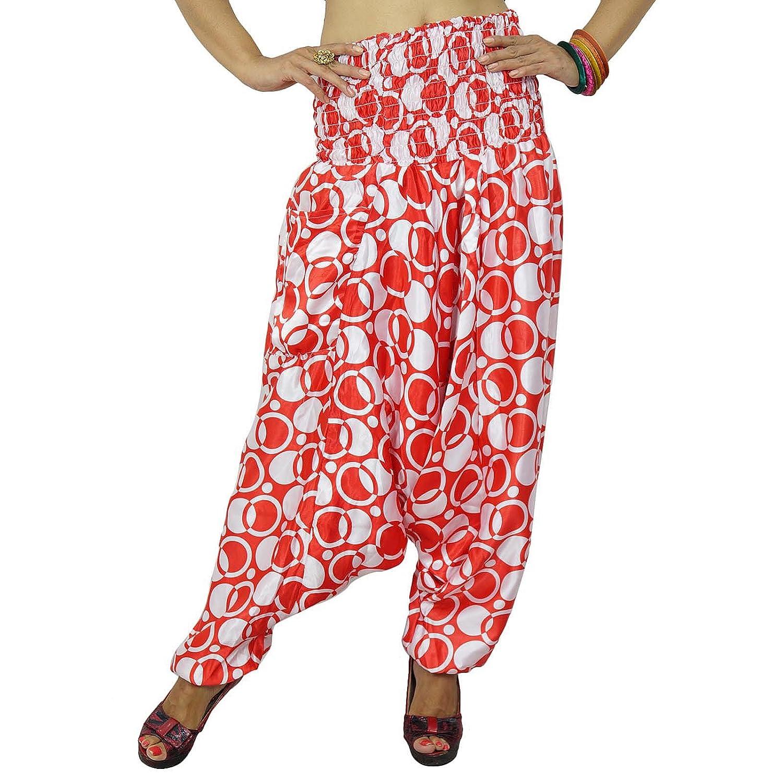 indisches Satin alibaba Haremsfrauen keuchen rot Hippie lässige Sommer-Hosen