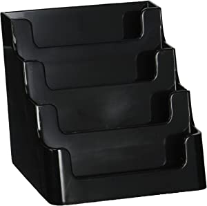 "Deflecto Sustainable Office Recycled Business Card Holder Stand, 4 Compartments, Holds 200 2"" x 3.5"" Cards, 3-7/8""W x 3-1/2""H x 4-1/8""D, Black (90404)"