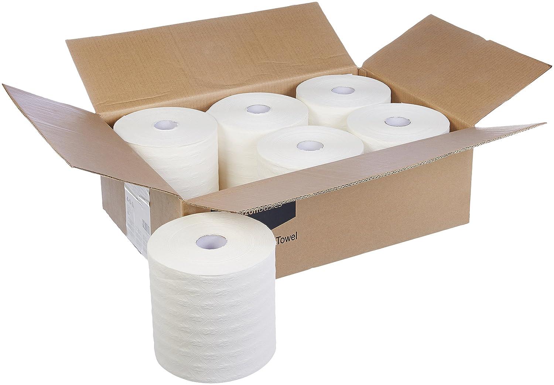 6 Rolls 950 Feet per Roll White Basics Hard Roll Towels