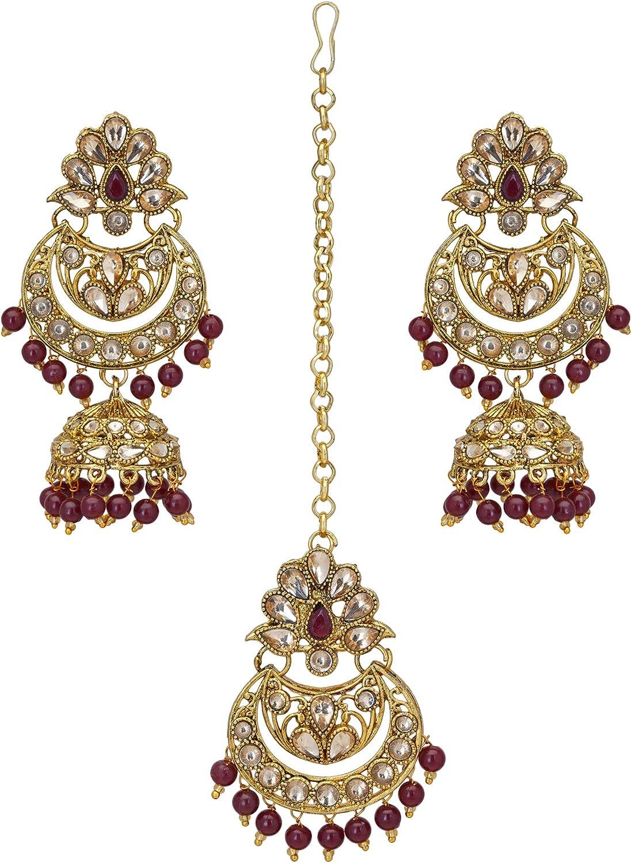 Jwellmart Indian Ethnic Partywear Wedding Gold Plated Chandbali Jhumka CZ Stone Earrings Tikka Set for Women and Girls