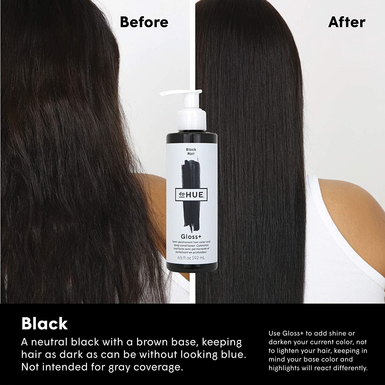 dpHUE Gloss+ - Black, 6.5 oz - Color-Boosting Semi-Permanent Hair Dye & Deep Conditioner - Enhance & Deepen Natural or Color-Treated Hair - Gluten-Free, Vegan : Beauty