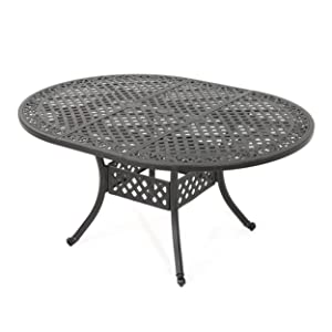 Christopher Knight Home Stone Island Outdoor Shiny Copper Finished Expandable Aluminum Dining Table