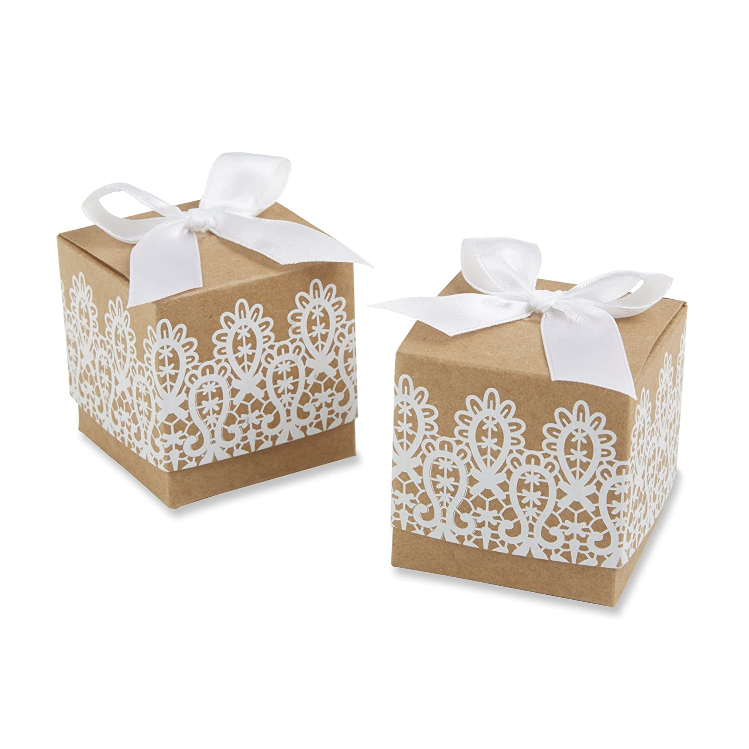 Amazon.com: Kate Aspen Rustic Romance Kraft Lace Favor Box, Set of ...