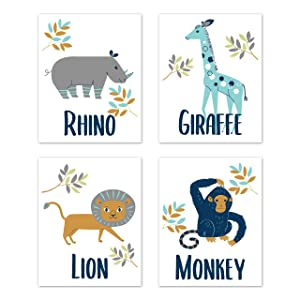 Sweet Jojo Designs Safari Jungle Animal Wall Art Prints Room Decor for Baby, Nursery, and Kids - Set of 4 - Mod Turquoise, Navy Blue, Orange and Grey Rhino Giraffe Lion Monkey Zoo