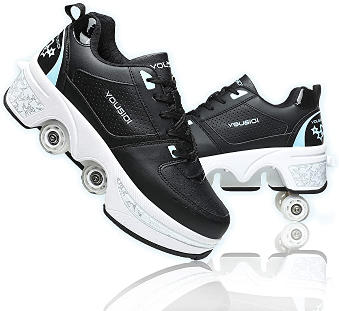 Deformation Parkour Roller Shoes 4-Wheels Parkour Childrens Park Walking Roller Skates