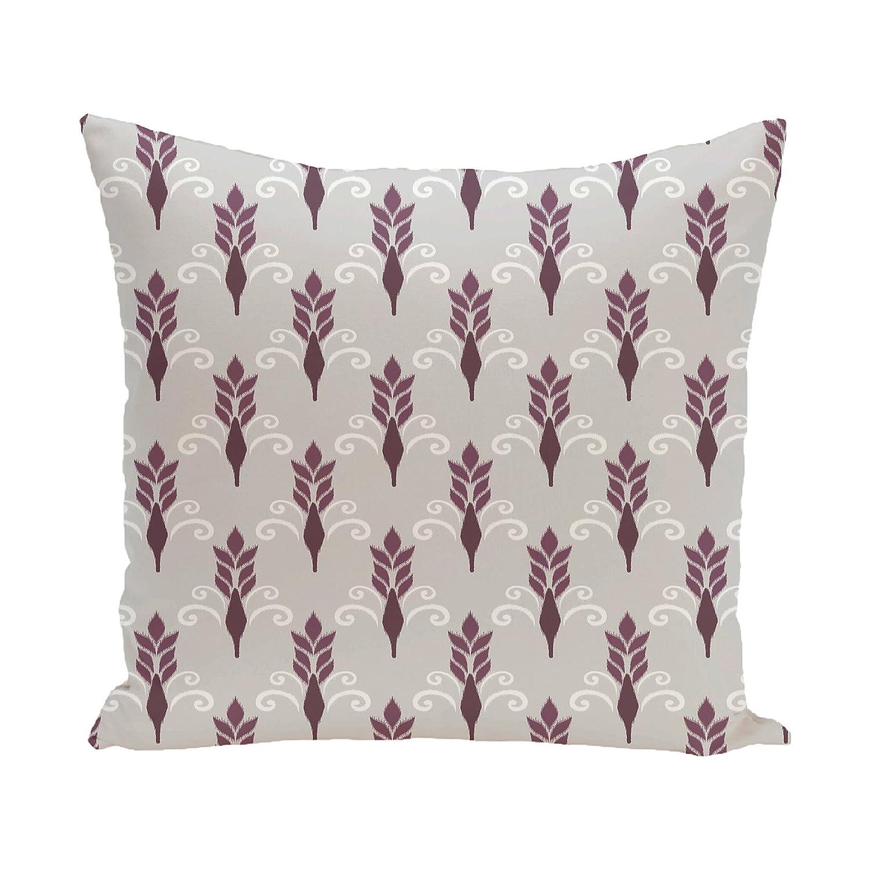E by design Friendship Floral Geometric Print Pillow 18-Inch Length Plum