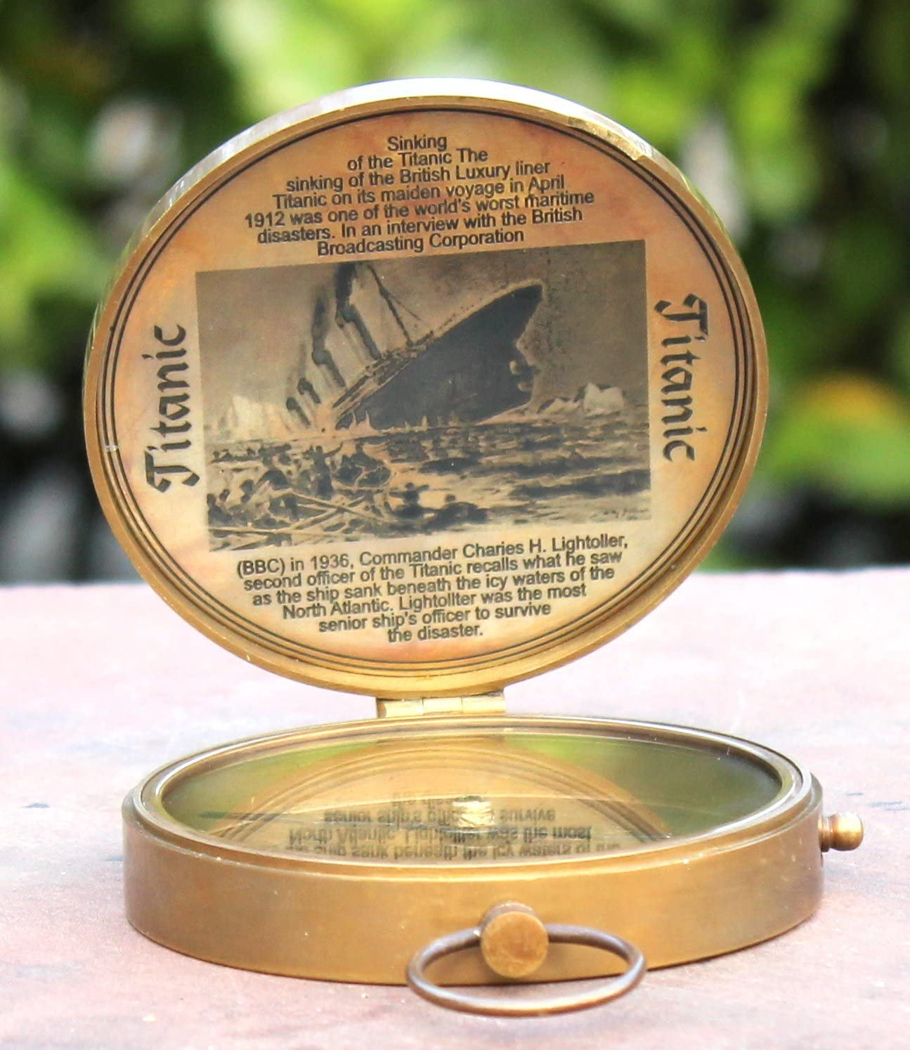 Brass Pocket Compass Mini Maritime Collectible Gift