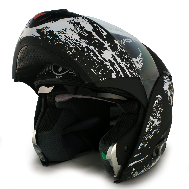Flat Black, Medium V210 B1 CRUS// FB// M VCAN Blinc 210 Full Modular Helmet with Crusader Graphics