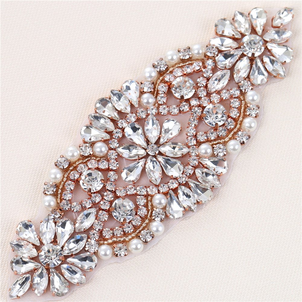 Bridal Wedding Dress Sash Belt Applique with Crystals Rhinestones Pearls Beaded Dacorations Handcrafted Sparkle Elegant Thin Sewn or Hot Fix for Women Gown Evening Prom Clothes (Clear Rose Gold)