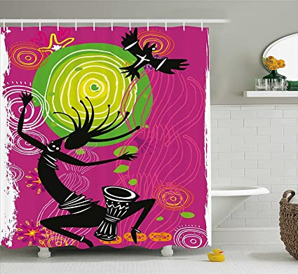 Mirryderr Tribal Shower Curtain Ethnic African Ancient Primitive Dancing Man With Quotes Fabric Bathroom