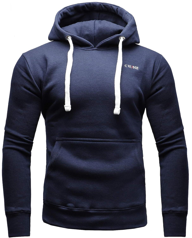 CRONE Basic Herren Fleece-Hoodie Kapuzenpullover aus 100% Baumwolle mit Logo