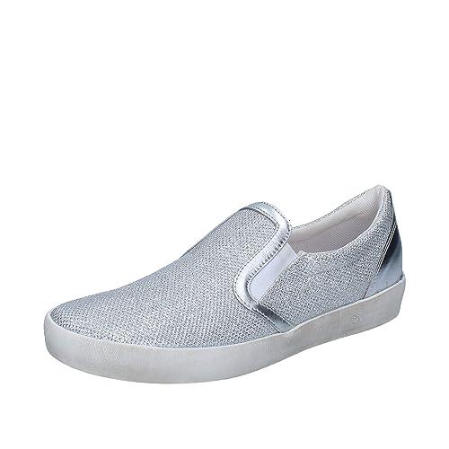 W6Yz - Mocasines de tela para mujer Plateado plateado: Amazon.es: Zapatos y complementos