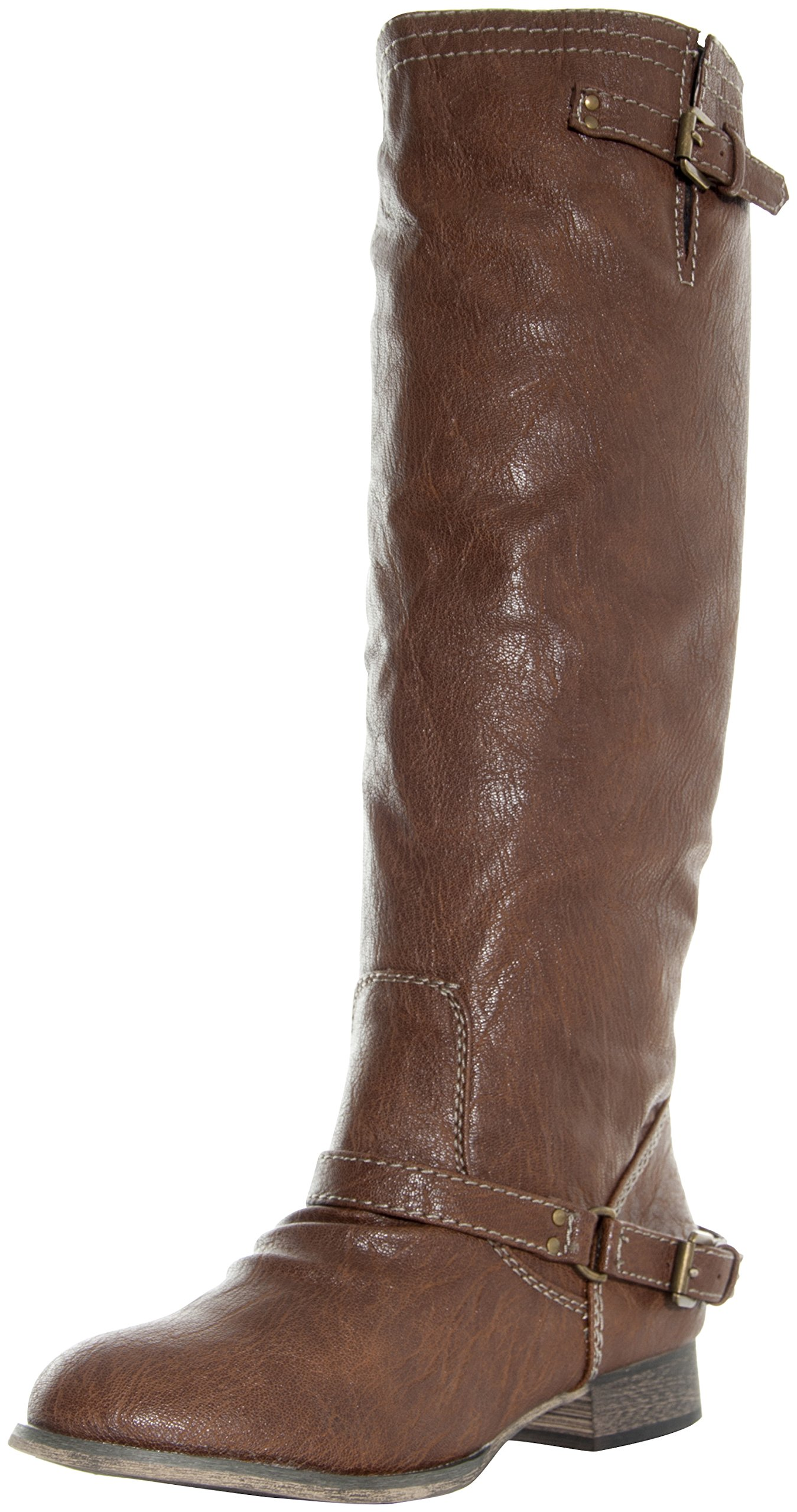 Breckelle's Outlaw-81 Vegan Leather Mid Calf Round Toe Motorcycle Boots TAN (6)