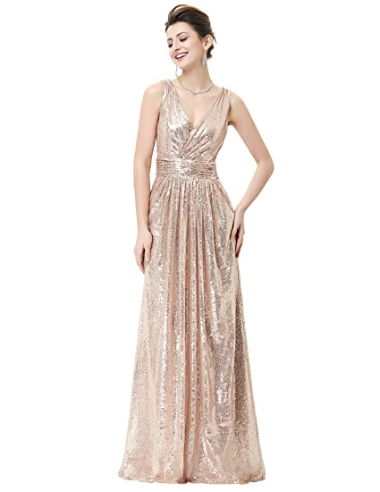 d3902089a00e Kate Kasin Formal Prom Sequins Full Length Dress Sexy Bride Dress Rose Gold  Size 10 KK199  Amazon.in  Clothing   Accessories