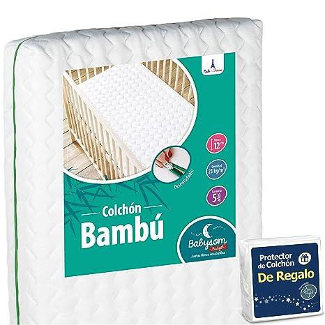 Babysom - Colchón Cuna Bebé Bambú + 1 Protector de colchón impermeable DE REGALO - 60