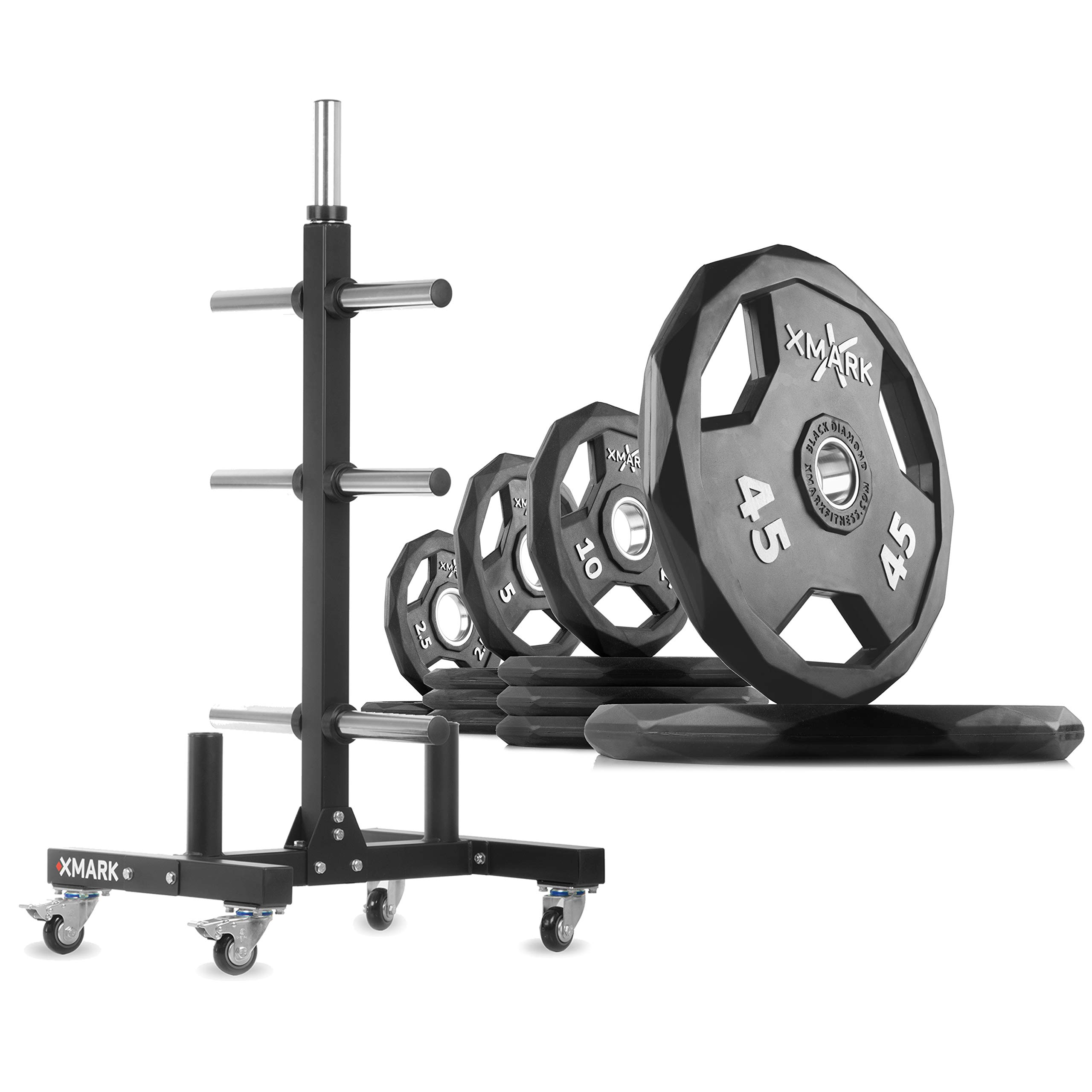 XMark XM-9055 Commerical Olympic Weight Tree Plus a 155 lb Set of Black Diamond Olympic Plates by XMark