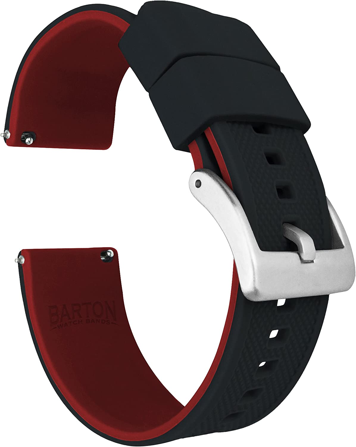 BARTON Watch Bands - Elite Silicone Watch Straps - Quick Release - Choose Color & Width - 18mm, 19mm, 20mm, 21mm, 22mm, 23mm & 24mm - Textured Rubber Watch Straps
