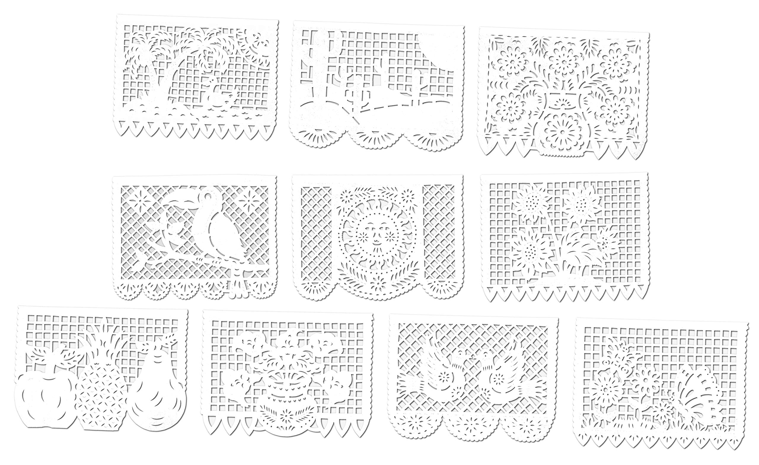 Paper Full of Wishes Large Party Pack Tissue Papel Picado Banner - Primavera Blanca - 30 Tissue Panels - Each Banner 50 ft Long Hanging - 3 Pack Banner Set - Designs and Color as Pictured (3pk)