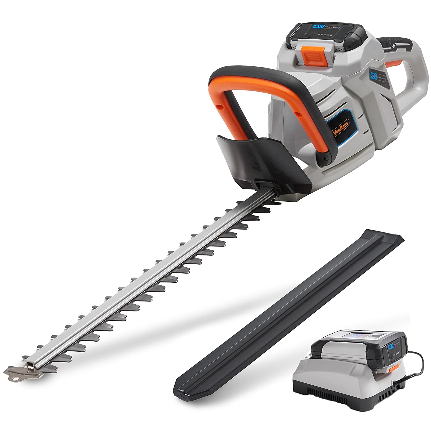 "VonHaus 40V Max 20"" Dual Action Cordless Hedge Trimmer 2.0Ah Lithium-Ion Battery Charger Kit Included"