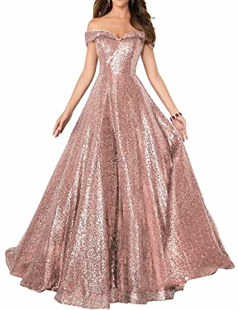 2019 Off Shoulder Sequined Prom Party Dresses for Women A Line Empire Waist  Robes Plus Size Formal Evening Skirts Long Elegant Gowns SHPD41 Rose Gold