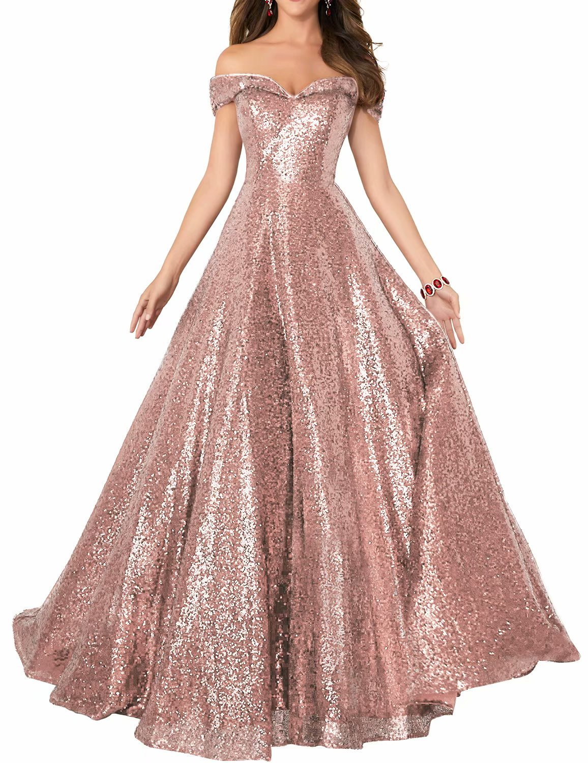 YIRENWANSHA 2018 Off Shoulder Sequined Party Dresses Plus Size Homecoming  Gowns A Line Empire Waist Robes Plus Size Formal Evening Skirts Long  Elegant Gowns ... d912056c2