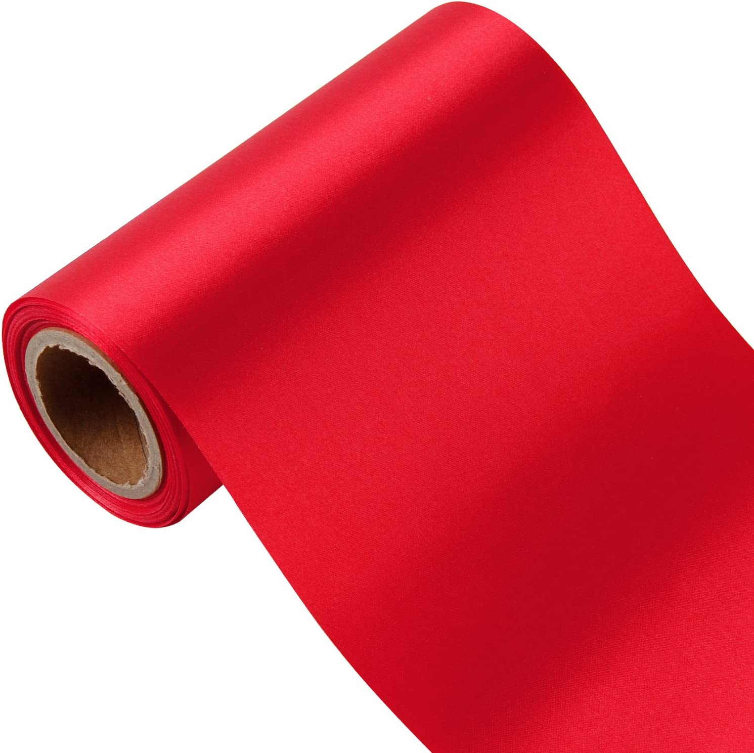 "6 x  RED Polyester Satin Ribbon Rose 2/"" x 3 /""  in Stock USA Seller"