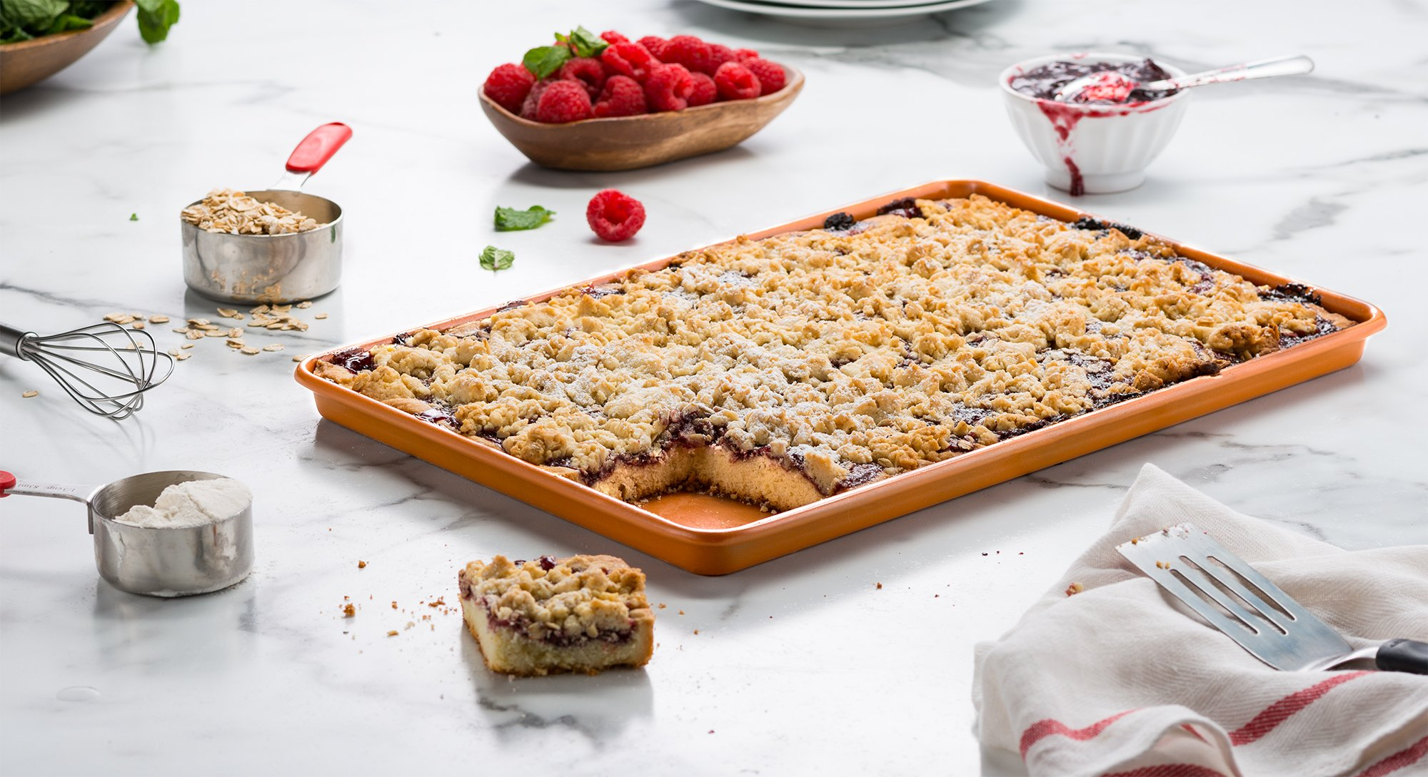 Ceramic Coated Cookie Sheet 17.3'' x 11.6'' - Premium Nonstick, Even Baking, Dishwasher and Oven Safe - PTFE/PFOA Free - Red Cookware and Bakeware by Bovado USA by BOVADO USA (Image #5)