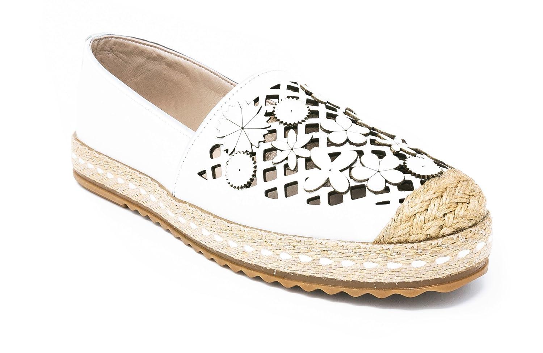 BOBERCK Pamela Collection Espadrille Women's Slip-On Loafer White