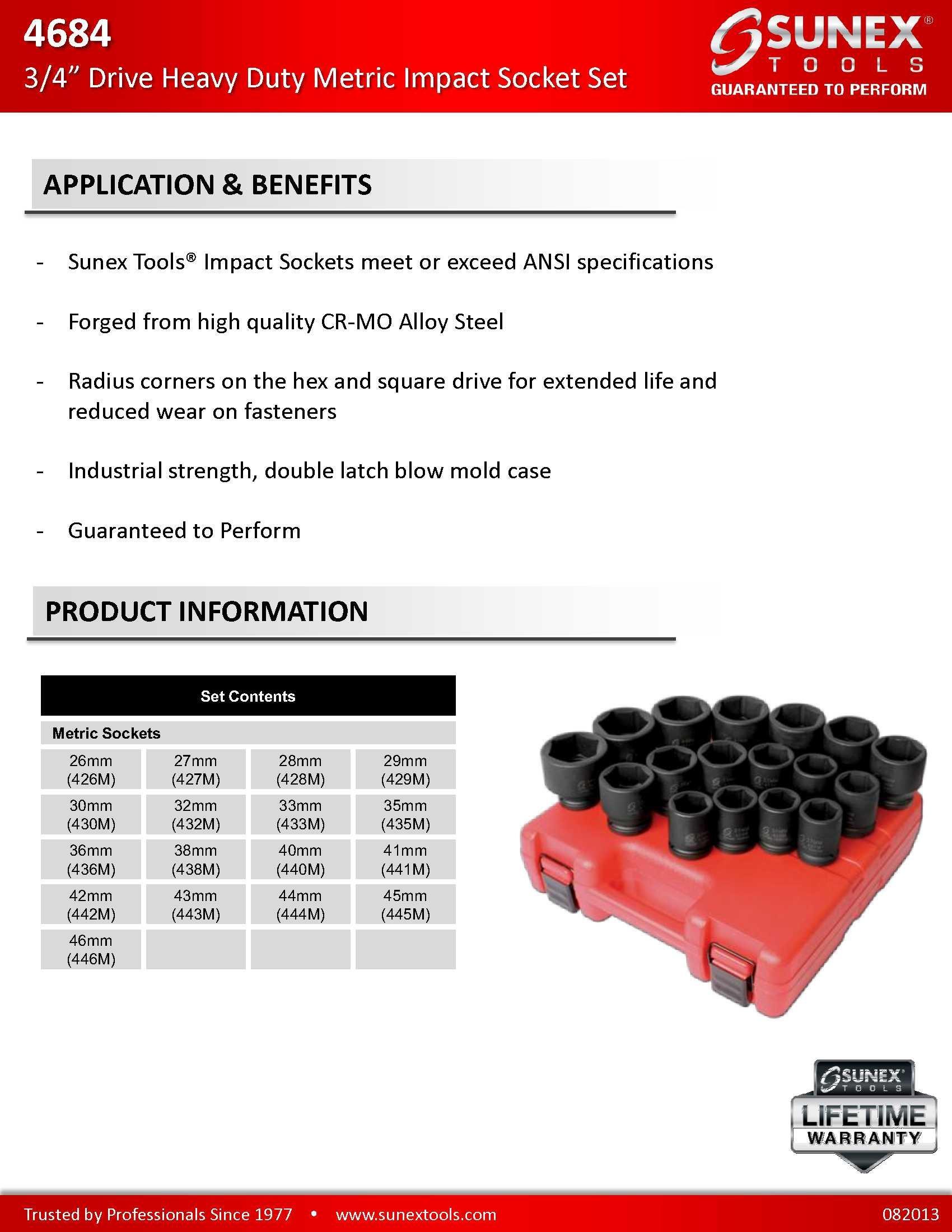 Sunex 4684 3/4-Inch Drive Heavy Duty Metric Impact Socket Set, Metric, Standard, 6-Point, Cr-Mo, 26mm - 46mm, 17-Piece