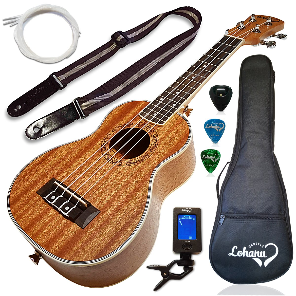 Ukulele Tenor Size Bundle From Lohanu (LU-T) 2 Strap Pins Installed FREE Uke Strap Case Tuner 2 Picks A Pick Holder Aquila Strings Installed Free Video Lessons BEST UKULELE BUNDLE DEAL Purchase Today! LU-T Bundle