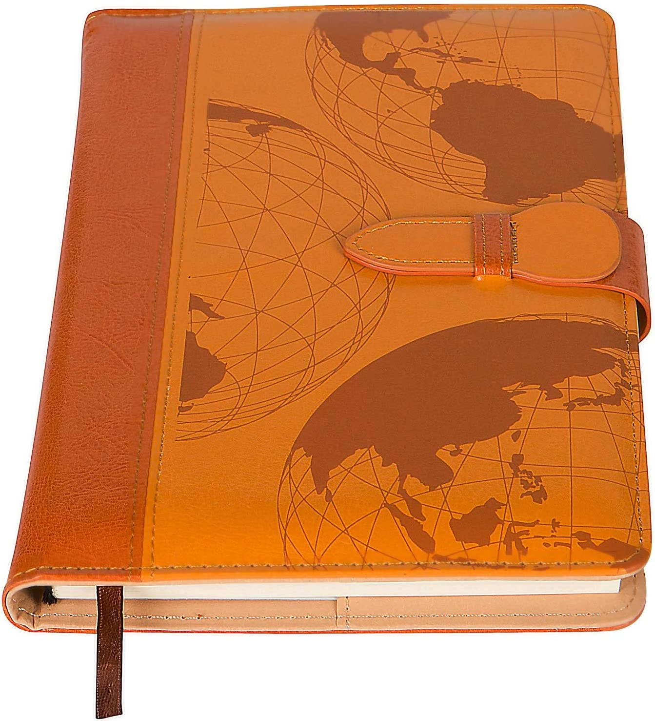 The World Map Refillable Writing Journal Notebook | Faux Leather Cover, Strong Clasp, 5 x 8 Inch, 200 Lined Pages, Travel, Diary, Quality Notebooks and Journals for Men and Women | The Amazing Office