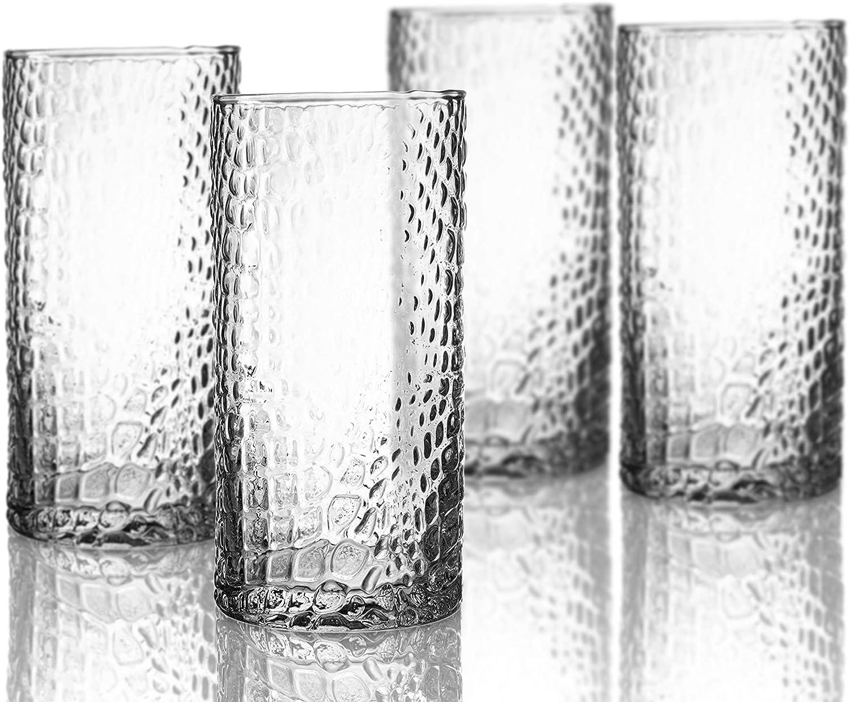 Elle Decor Bistro Croc 4 Pc Set Highball, Clear-Glass Elegant Barware and Drinkware, Dishwasher Safe, 15.5 oz