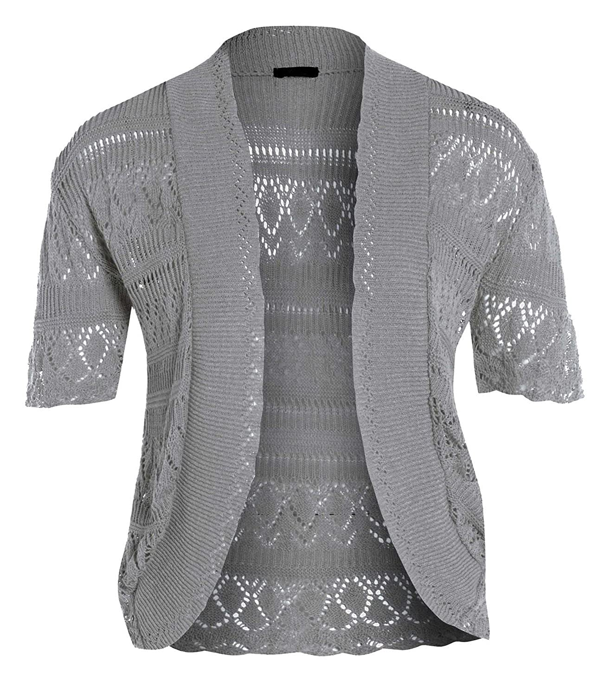 Sphere New Ladies Crochet Knitted Plus Size Short Sleeve Bolero Shurg 16-18