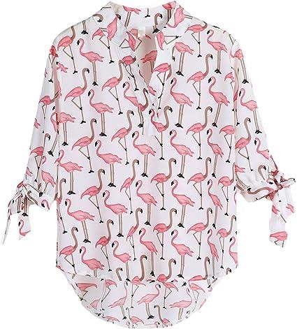 Blusas De Mujer Elegantes Imprimir Flamingo Verano Camisas Media Manga Stand Cuello Hippies Moda Estilo Casual Dulce Blusa Tops: Amazon.es: Ropa y accesorios