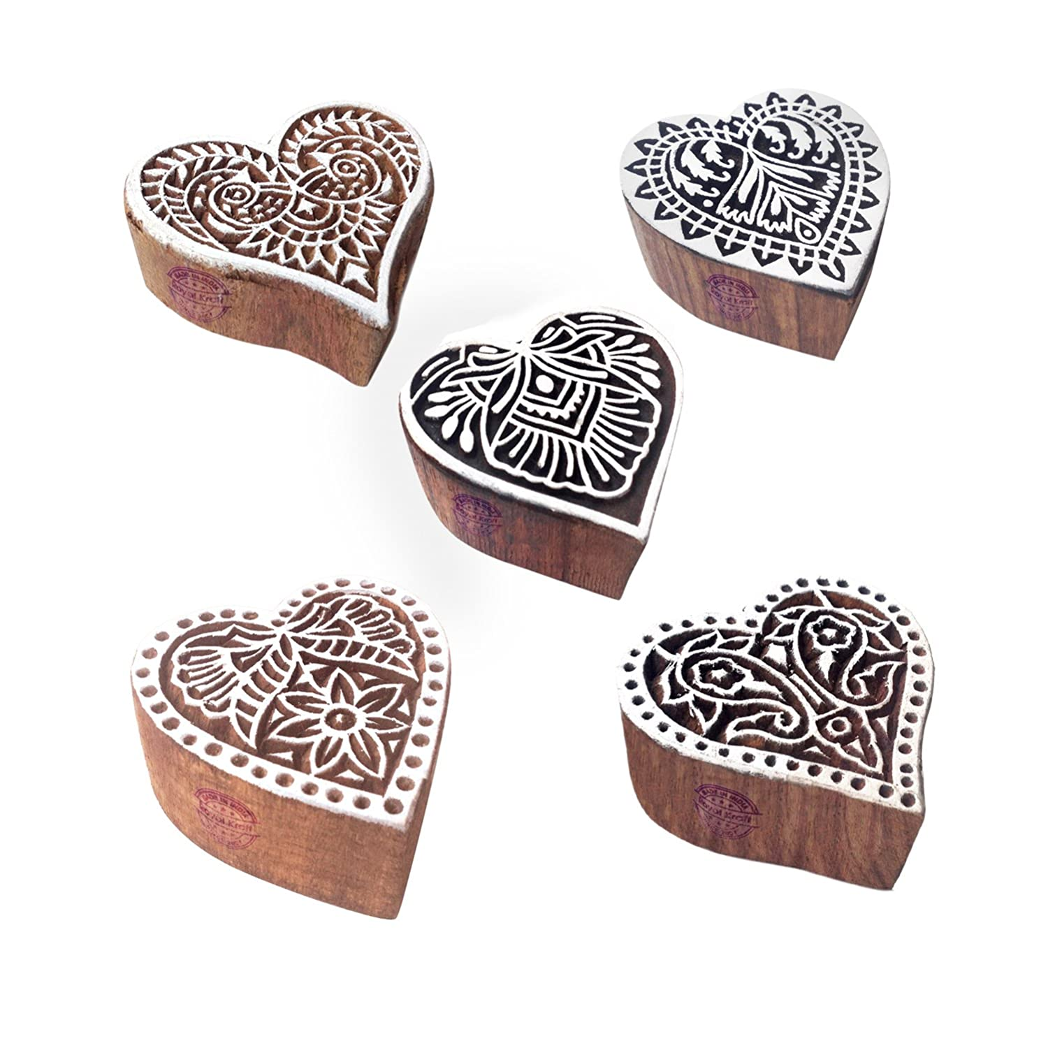 Royal Kraft Crafty Pattern Heart and Floral Wood Block Stamps (Set of 5) Htag1164