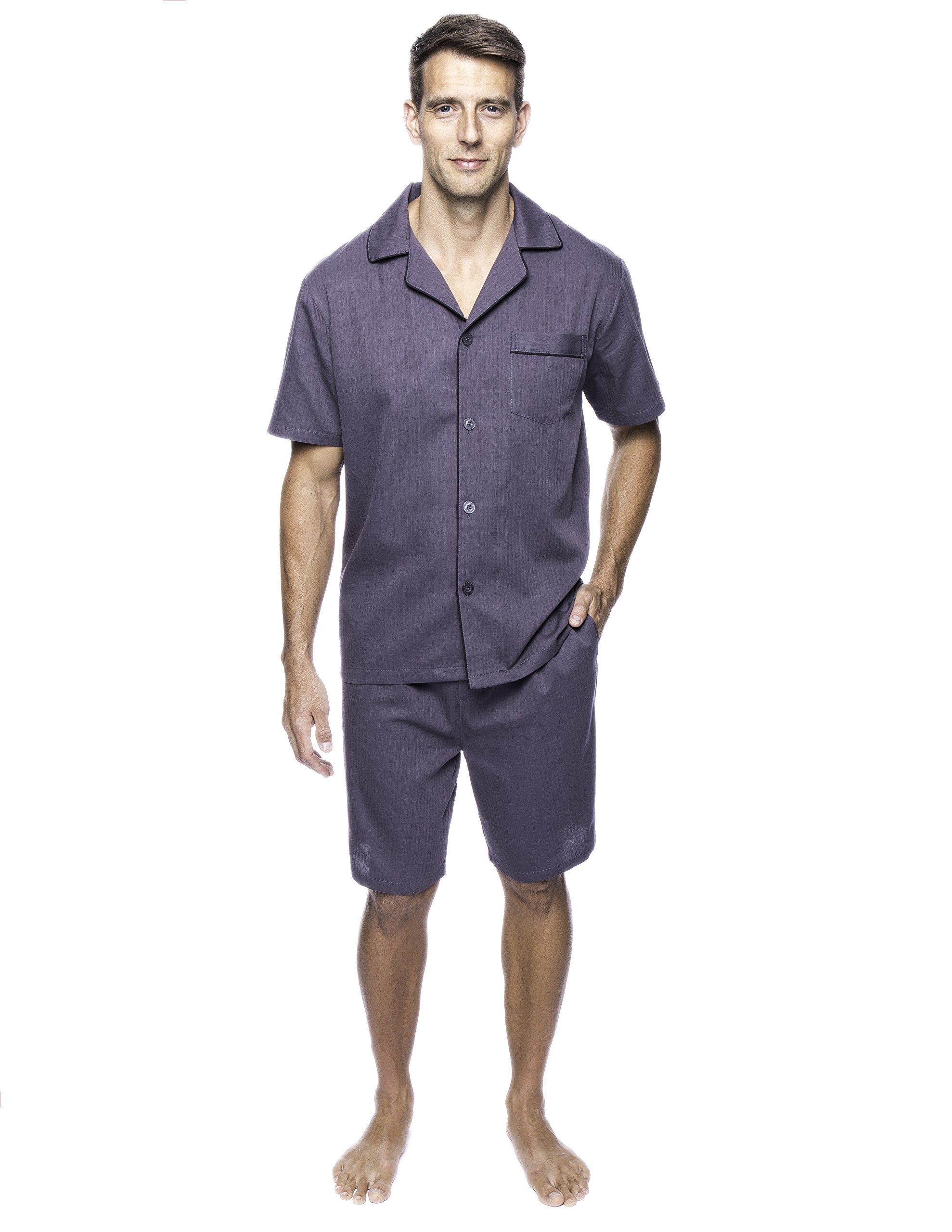 Twin Boat Men's Cotton Short Pajama Set - Herringbone Dark Grey - 2XL