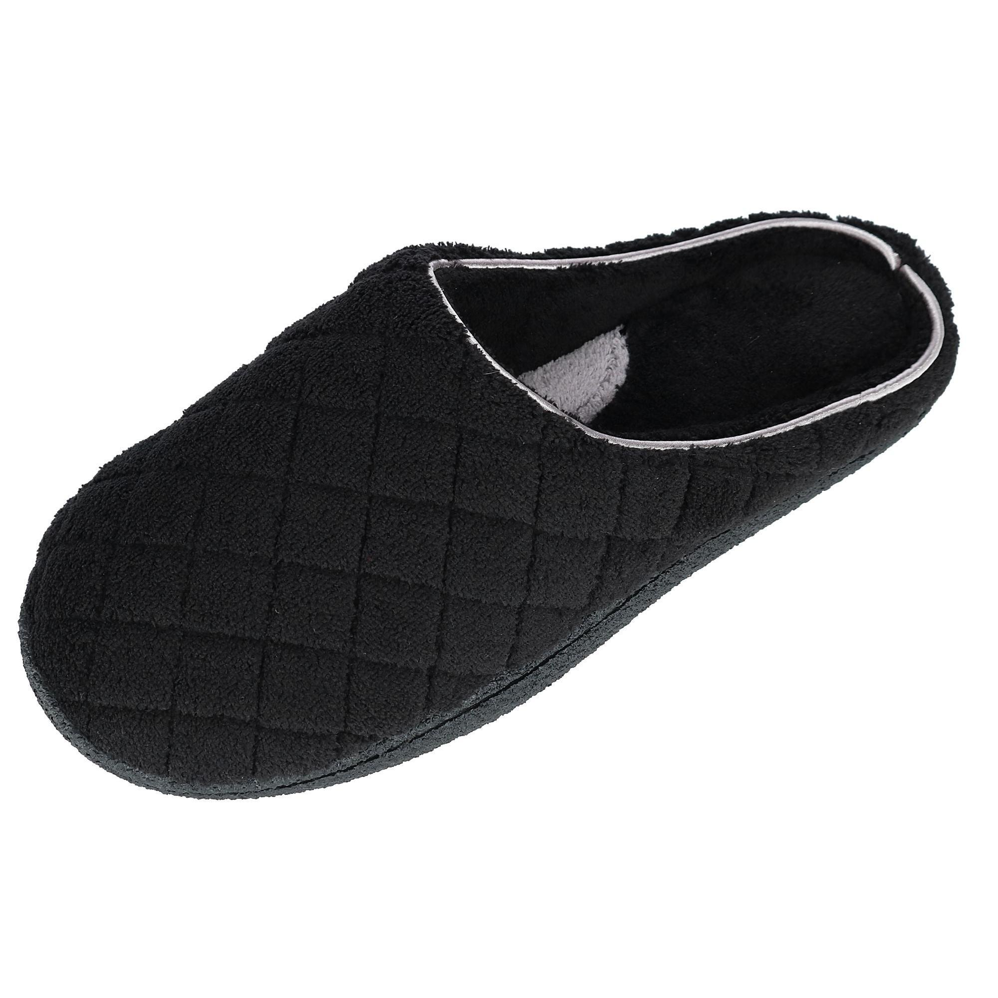 Dearfoams Women's Quilted Terry Clog Mule Slipper – Padded Terrycloth Slip-ONS with Skid-Resistant Rubber Outsole, Black, Large/9-10 M US